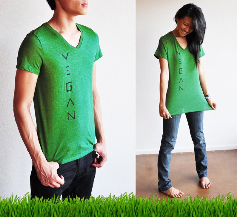 Vegan / Veg Clothing : Unisex Grass Green V-Neck Shirt  Size image 0