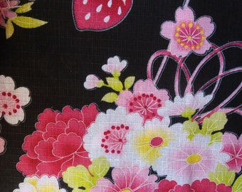 Japanese cotton yukata for kids / young girl with strawberries and  cherry blossoms and flowers.