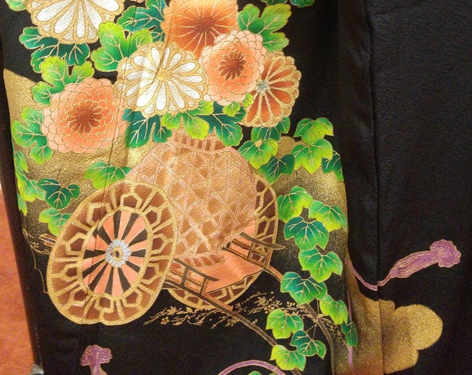 Vintage Japanese formal tomosode kimono with flowers and drum with hiyoku