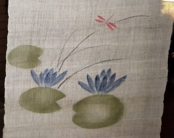 Japanese hemp Noren with  145 cm long 84 cm wide approx water lilies with dragonfly