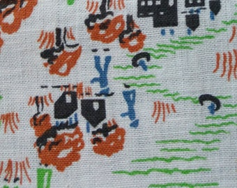 "Vintage American Feed sack fabric fat quarter 18"" x 22' cotton novelty old Western town feedsack"