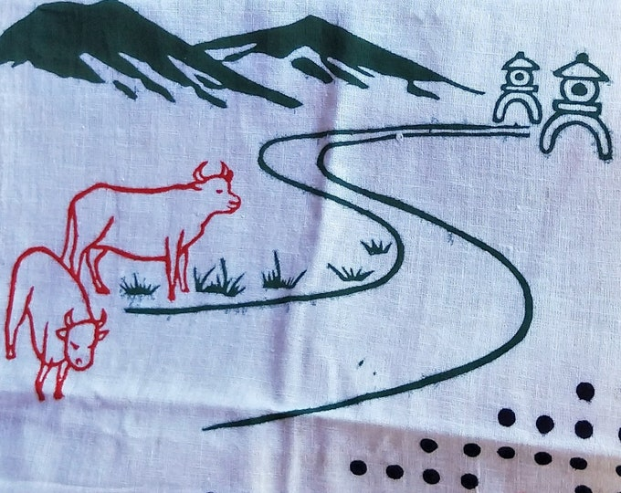 Vintage Japanese cotton tenugui towel dyed Gingko leaf, cows, calligraphy and shrine lanterns.