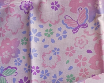 Collectable Japanese cotton tenugui towel print  with colourful Sakura Cherry Blossom and Butterfly 90 cm x 34.5 cm