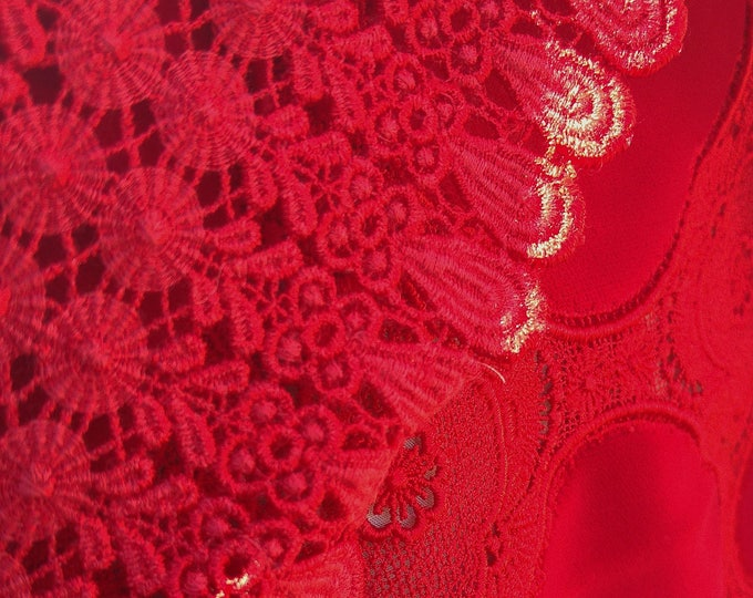 Vintage Japanese lace and red velvet shawl for kimono vibrant red with lace flowers
