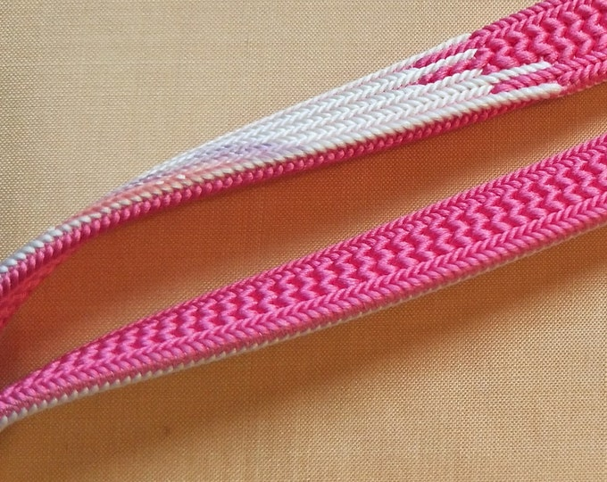 Vintage Japanese silk kumihimo obijime cord for obi dark pink and soft white with cloud pattern in lavender flat type.