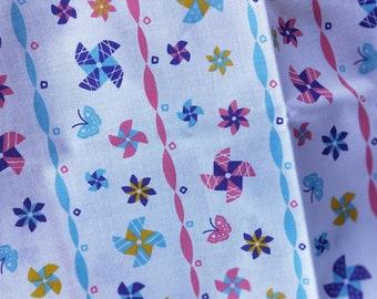 Collectable Japanese cotton tenugui towel print Pinwheels or Kazaguruma  90 cm x 34.5 cm