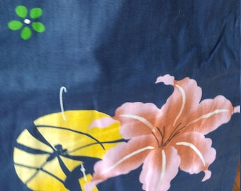 Japanese cotton yukata for kids / young girl with dragonflies and lily flowers.