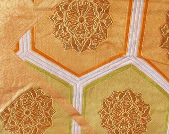 Vintage Japanese fukuro silk  woven flowers and kiko tortoise shell for longevity orange reverse, gold metallic threads