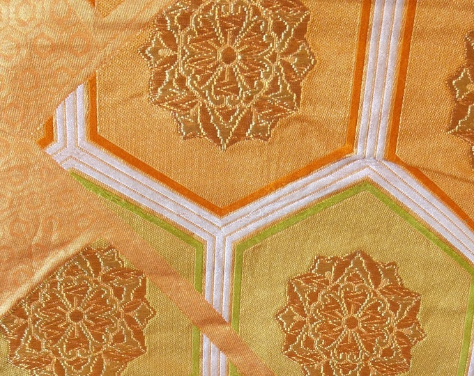Vintage Japanese fukuro silk  woven flowers and kiko tortoise shell for longevity orange reverse, gold metallic threads
