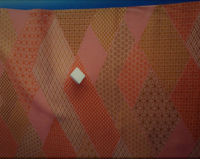 "Vintage Japanese silk kimono fabric 92 cm x 36 cm burnt orange patchwork geometrics. 36"" x 14"""