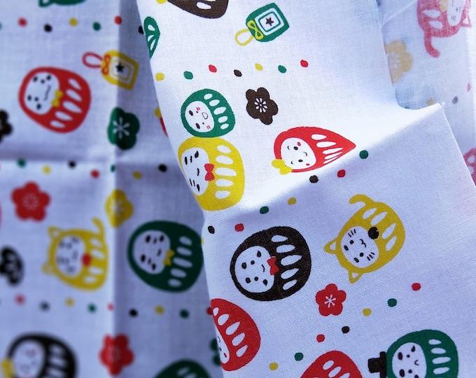 Collectable Japanese cotton tenugui towel print  with colourful Daruma 90 cm x 34.5 cm