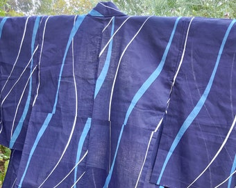 Vintage Japanese cotton yukata kimono indigo blue noshi or ribbon pattern, hand stitched dyed  100% cotton.