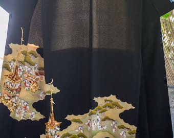Vintage Japanese formal tomosode kimono with  children and carriage with embroidery with hiyoku