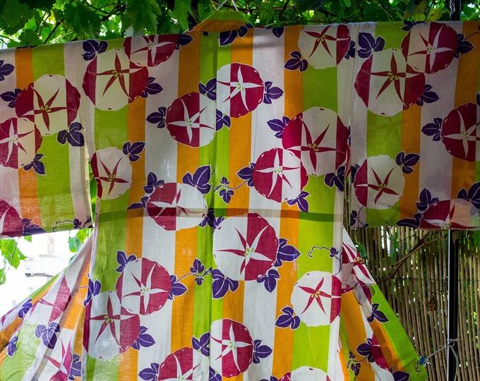 Brand new Japanese cotton yukata flowers on green  and  orange stripe ground 100% cotton
