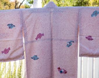 Vintage Japanese  pink rinzu silk kimono with wood grain and flowers.