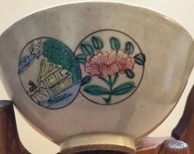 Japanese Kyo-yaki hand painted vintage tea bowl. Three scenes, ceramic teabowl. Signed.