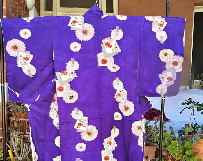 Antique Japanese rinzu fine weaves purple / blue silk kimono with chrysanthemum and shikishi, from the 1940's hand stitched