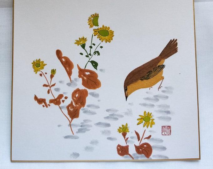 Vintage Hand painted Japanese shikishi  paintings bird  flowers