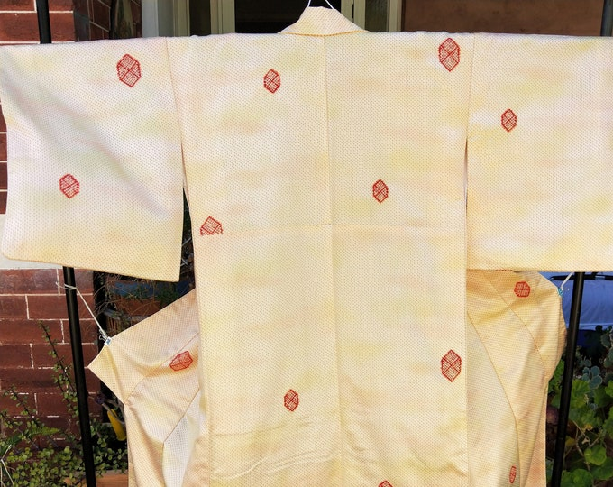 Vintage Japanese rinzu weave silk kimono with shibori accents cream with orange and yellow ombre dyeing