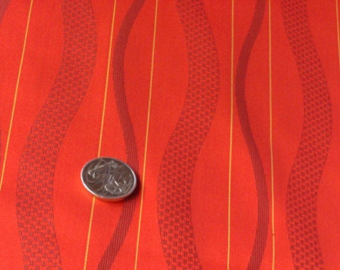 "Vintage Japanese silk kimono fabric 92 cm x 36 cm vermilion silk satin 36"" x 14"""