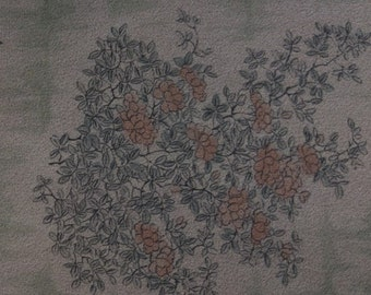 Vintage Japanese silk kimono fabric 92 cm x 36 cm dusky salmon pink flowers