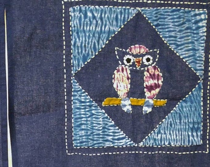 Japanese cotton sashiko noren with 6 owls. 145 cm long 84 cm wide approx