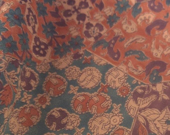 "Vintage Japanese silk kimono fabric 92 cm x  36 cm sarasa pattern calico 36"" x 14"""