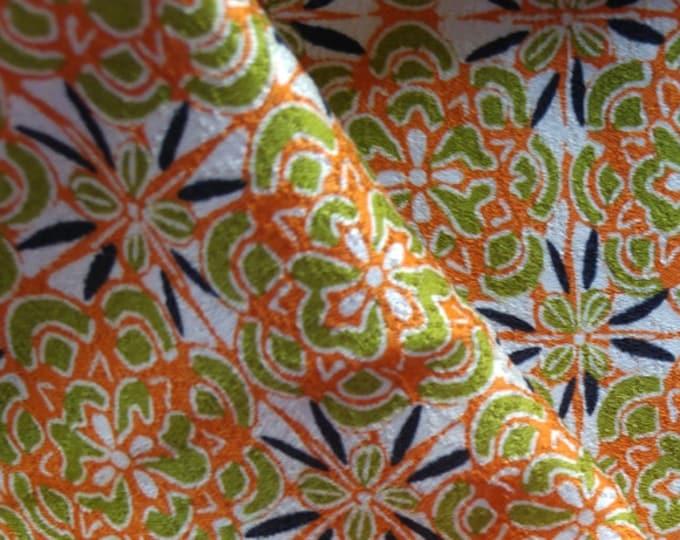 "Vintage Japanese silk rinzu kimono fabric 76 x 36 cm 30"" x 14"" geometic floral"
