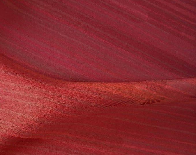 Vintage Japanese silk kimono fabric 92 cm x 36 cm woven stripe wine brown