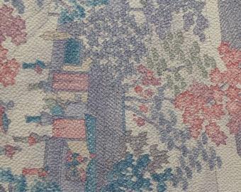 "Vintage Japanese silk kimono fabric 92 cm x 36 cm chirimen crepe scenery 36"" x 14"""