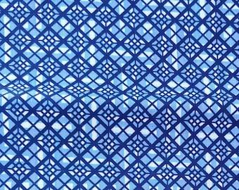 """Japanese kimono indigo blue and white cotton yukata fabric abstract geometric 9 2 cm x 36 cm (36"""" x 14"""")"""