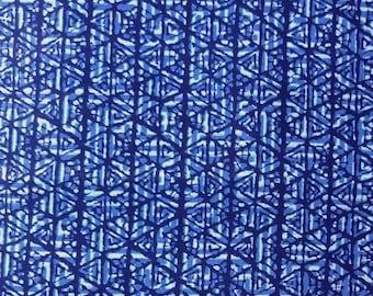 """Japanese kimono indigo blue and white cotton yukata fabric abstract geometric 36"""" x 14"""""""