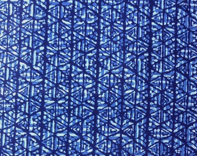 "Japanese kimono indigo blue and white cotton yukata fabric abstract geometric 36"" x 14"""