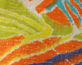 Vintage Japanese summer wool kimono fabric 92 cm x 36 cm retro geometric pop