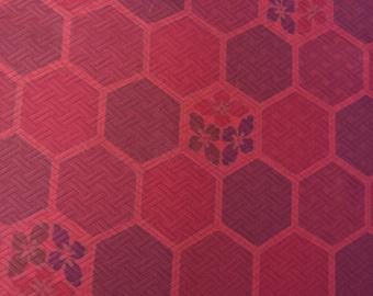 Vintage Japanese silk kimono fabric 92 cm x 36 cm orange brown geometric