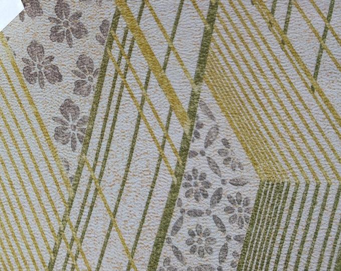 "Vintage Japanese silk kimono fabric 92 cm x 36 cm yellow classical patterns tatami mats 36"" x 14"""