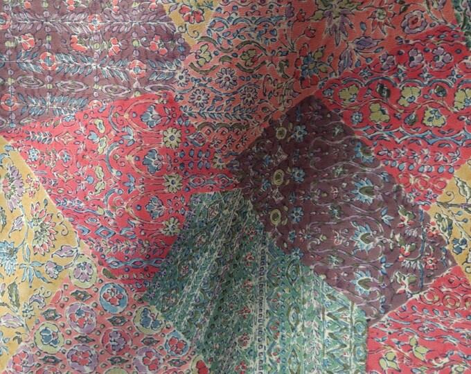 Vintage Japanese silk crepe kimono fabric 92 cm x 36cm chirimen autumn sarassa
