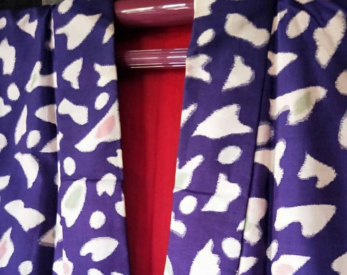 Antique Japanese Purple Meisen silk /rayon blend kimono abstract with stylised cherry blossoms.  1940's hand stitched. NOT MINT!