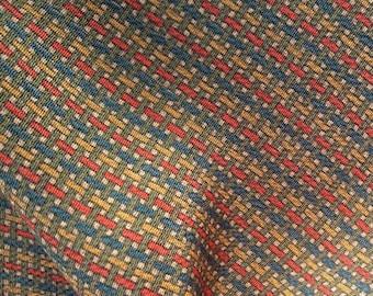 "Vintage Japanese silk kimono fabric 92 cm x 36 cm chirimen crepe geometric abstract ochre 36"" x 14"""