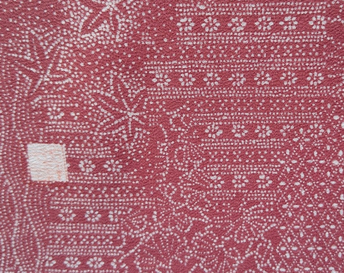 "Vintage Japanese silk kimono fabric 92 cm x 36 cm / 36"" x 14"" katagami stencil dyed fabric signed by the artist"