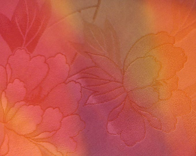 Vintage Japanese silk kimono fabric 92 cm x 36 cm woven flower peony autumn shades