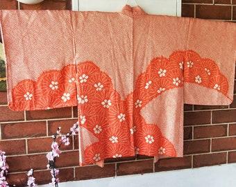 Vintage Japanese full shibori silk haori  kimono jacket. Striking orange with dramatic flowers hand stitched, handmade.