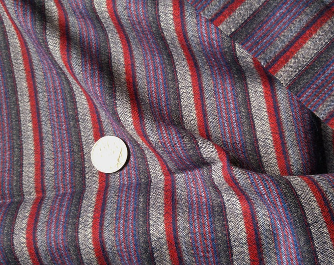 "Vintage Japanese wool kimono fabric 30"" x 36 "" double width soft woven stripe wool"