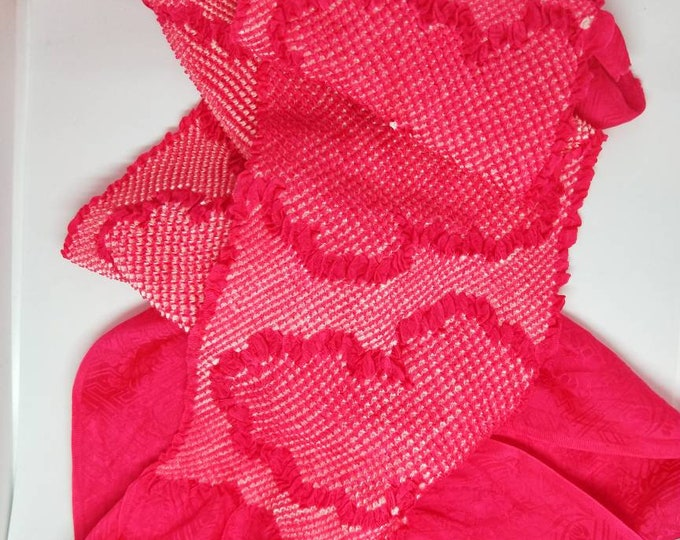 Vintage Japanese rinzu silk kimono obi-age bright cerise pink silk with shibori clouds 140 cm long