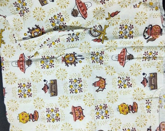 """Vintage American Feed sack fabric 1940's original not reproduction fat quarter 18"""" x 22' kitchen, kettle and spinning wheel mustard, brown"""