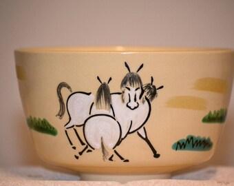 Japanese Kyo-yaki hand painted vintage tea bowl.  Three horses