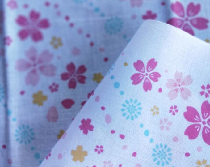 Collectable Japanese cotton tenugui towel print  with colourful Sakura Cherry Blossom 90 cm x 34.5 cm