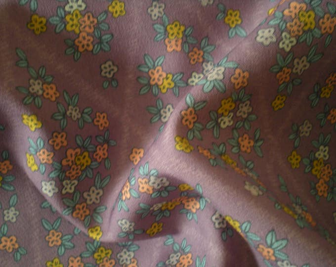 Vintage Japanese wool kimono fabric floral  diamonds purple  leaves 92 cm x 36 cm