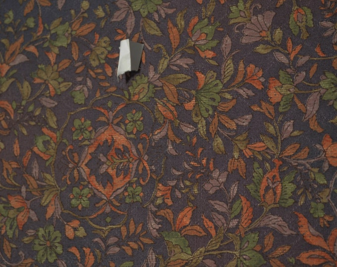 Vintage Japanese Purple Wool Chirimen Kimono Fabric Arabesque Patterns 92 cm x 36cm