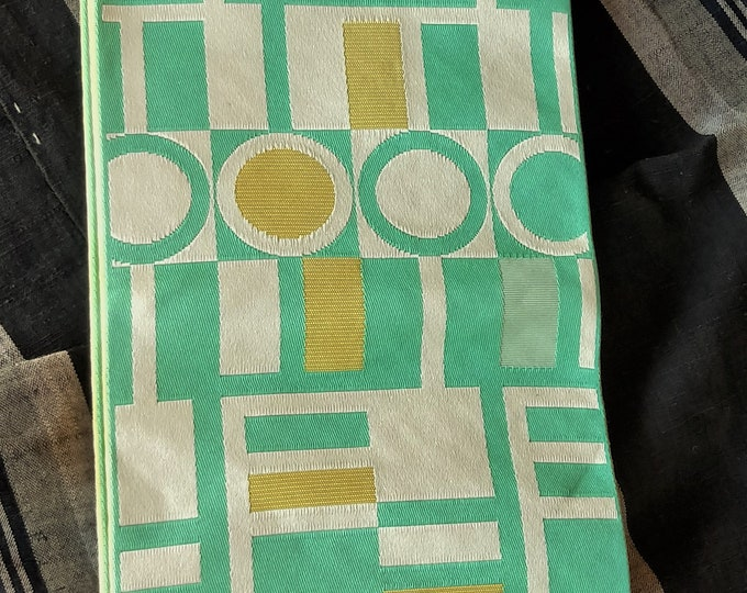 Hanhaba (half-width obi)  obi retro pop geometric patterns in mint and lemon ochre with lemon ochre pyramid reverse